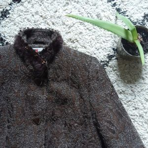 Brown fitted wool coat